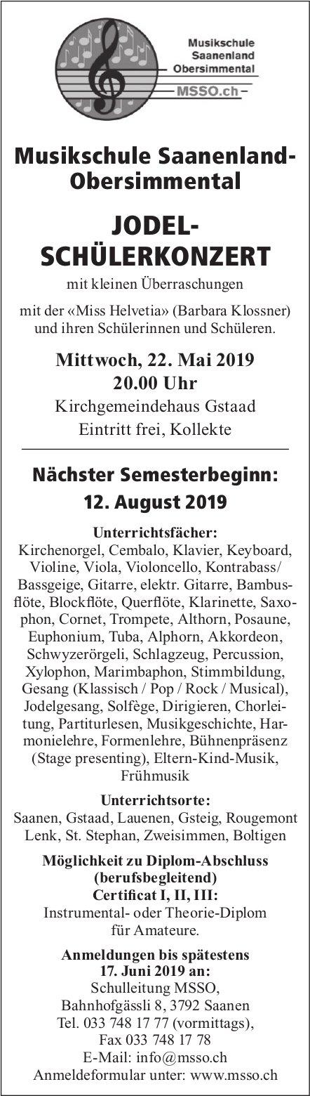 JODEL- SCHÜLERKONZERT, 22. Mai, Kirchgemeindehaus Gstaad