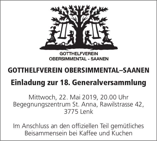 Einladung zur 18. Generalversammlung, GOTTHELFVEREIN OBERSIMMENTAL–SAANEN, 22. Mai, Lenk
