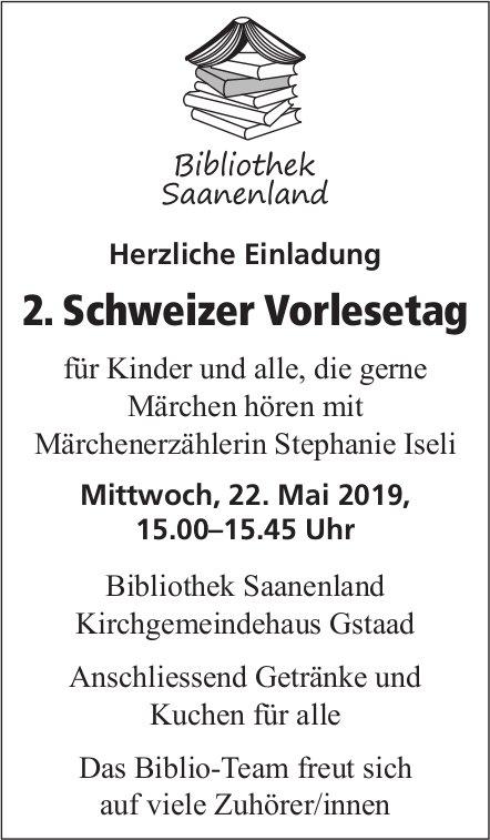 2. Schweizer Vorlesetag, 22. Mai, Bibliothek Saanenland, Kirchgemeindehaus Gstaad