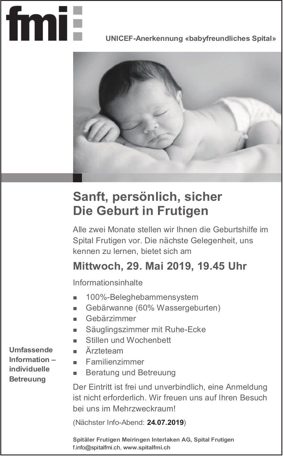 Informationsabend - Sanft, persönlich, sicher, Die Geburt in Frutigen, 29. Mai, Spital Frutigen