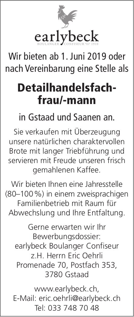 Detailhandelsfachfrau/-mann, earlybeck Boulanger Confiseur, Gstaad und Saanen, gesucht