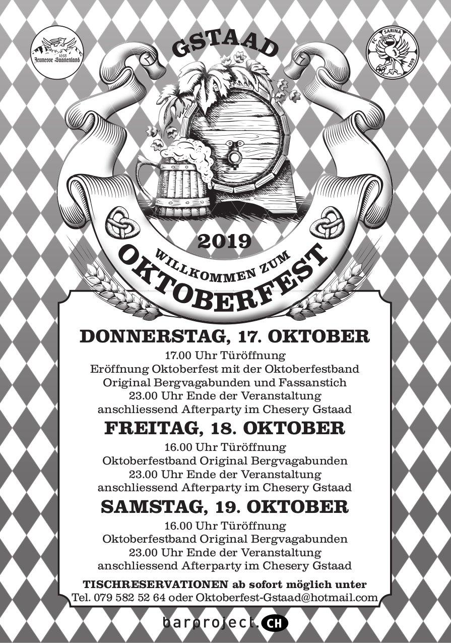 WILLKOMMEN ZUM OKTOBERFEST 2019, 17. - 19. OKTOBER, GSTAAD