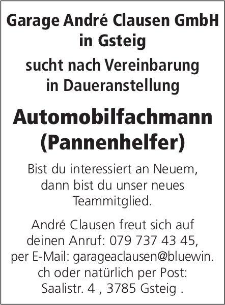 Automobilfachmann (Pannenhelfer), Garage André Clausen GmbH in Gsteig, gesucht
