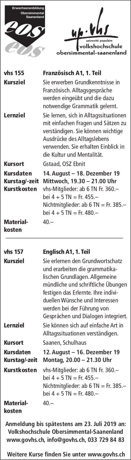 Kursprogramm, VHS Obersimmental-Saanenland