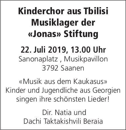 Kinderchor aus Tbilisi, Musiklager der «Jonas» Stiftung, 22. Juli, Musikpavillon, Saanen