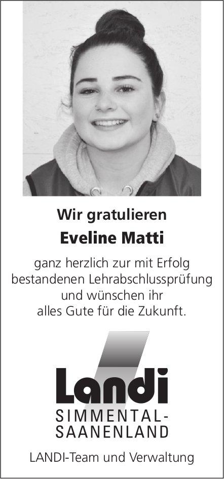 Wir gratulieren Eveline Matti ganz herzlich zur mit Erfolg bestandenen Lehrabschlussprüfung