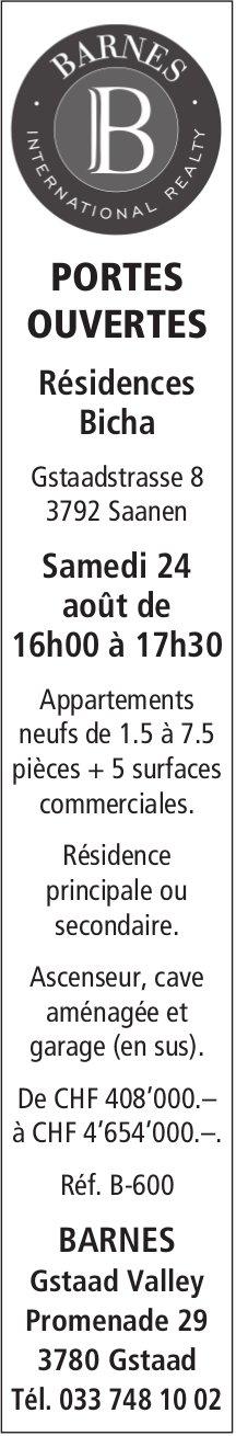 PORTES OUVERTES, Résidences Bicha, 24 août, Saanen