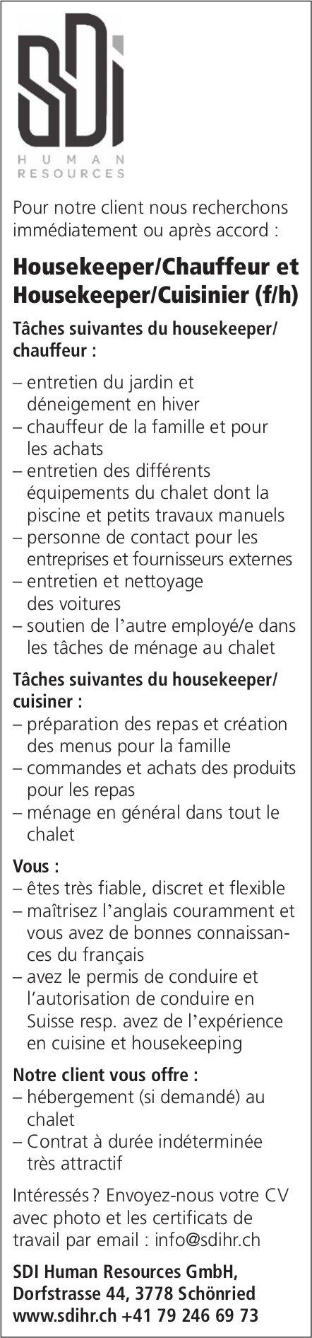 Housekeeper/Chauffeur et Housekeeper/Cuisinier (f/h), SDI Human Resources GmbH, Schönried, gesucht