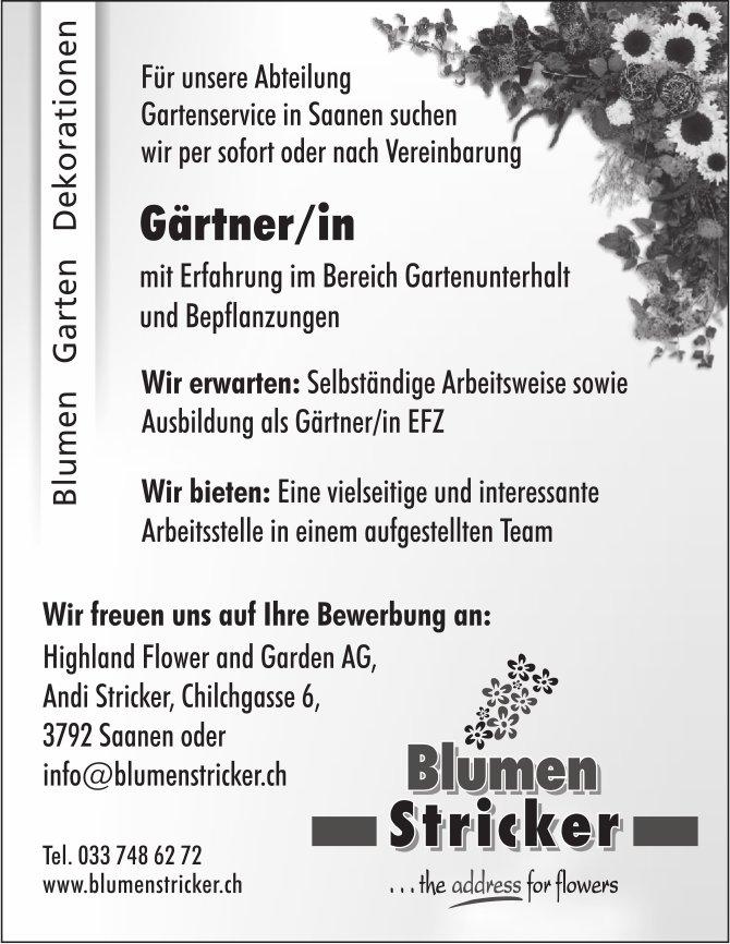 Gärtner/in, Highland Flower and Garden AG, Blumen Stricker, Saanen, gesucht