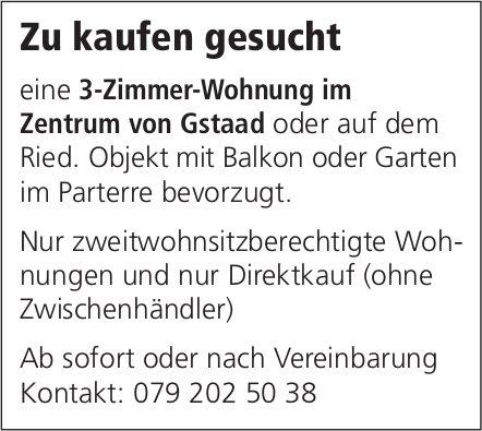 3-Zimmer-Wohnung im Zentrum von Gstaad oder auf dem Ried, zu kaufen gesucht