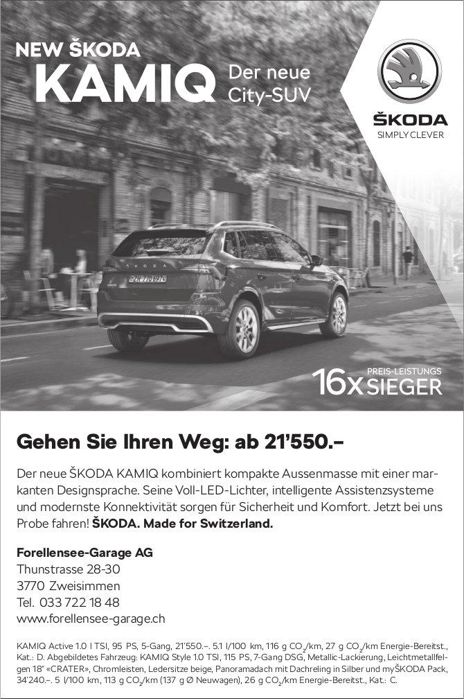 Forellensee-Garage AG, Zweisimmen - NEW SKODA KAMIQ, der neue City-SUV