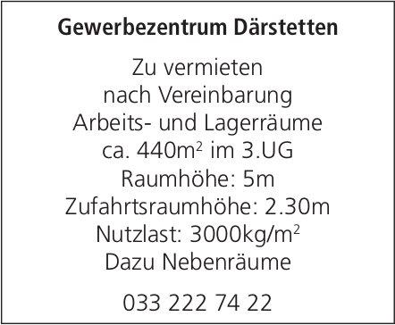 Arbeits- und Lagerräume ca. 440m2 im 3.UG, Gewerbezentrum Därstetten, zu vermieten