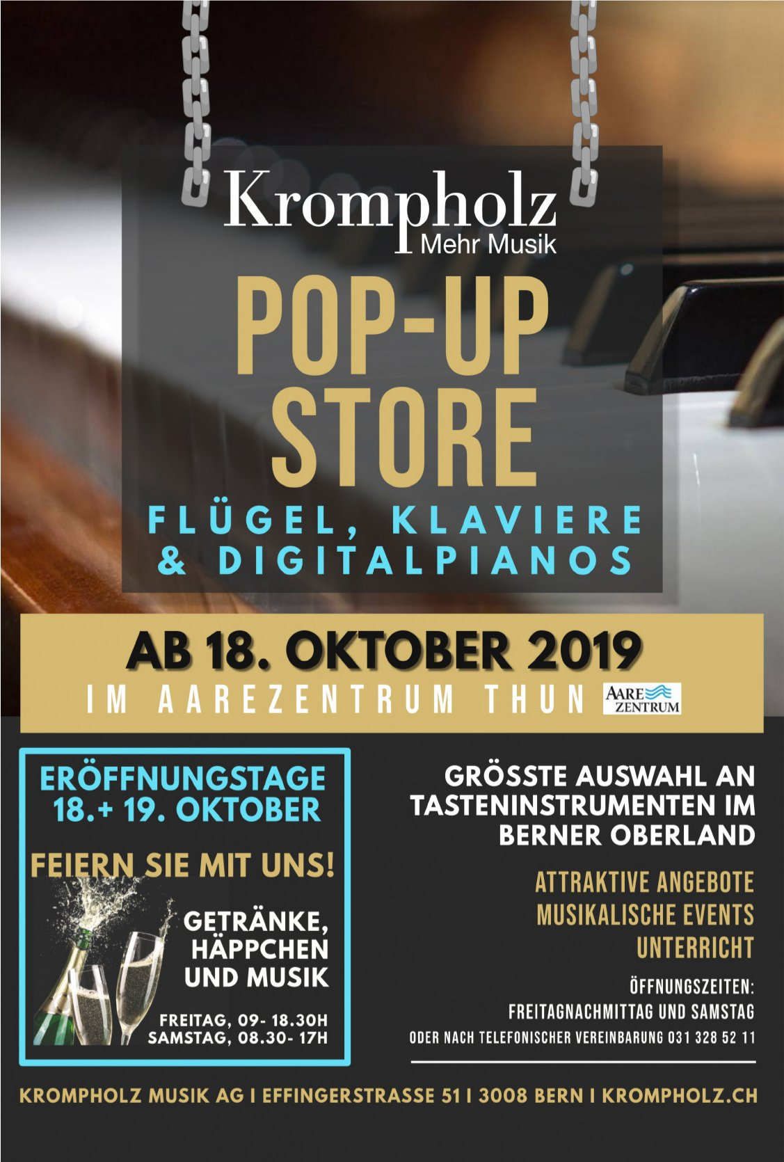 POP-UP STORE, FLÜGEL, KLAVIERE & DIGITALPIANOS, 18. OKTOBER, AAREZENTRUM THUN