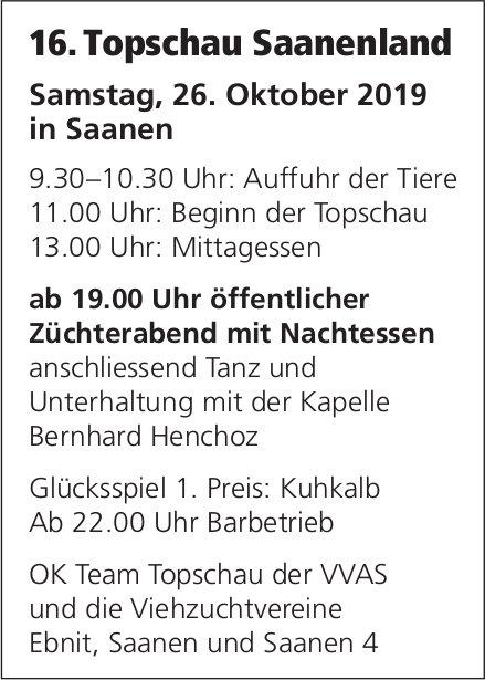 16. Topschau Saanenland, 26. Oktober, Saanen