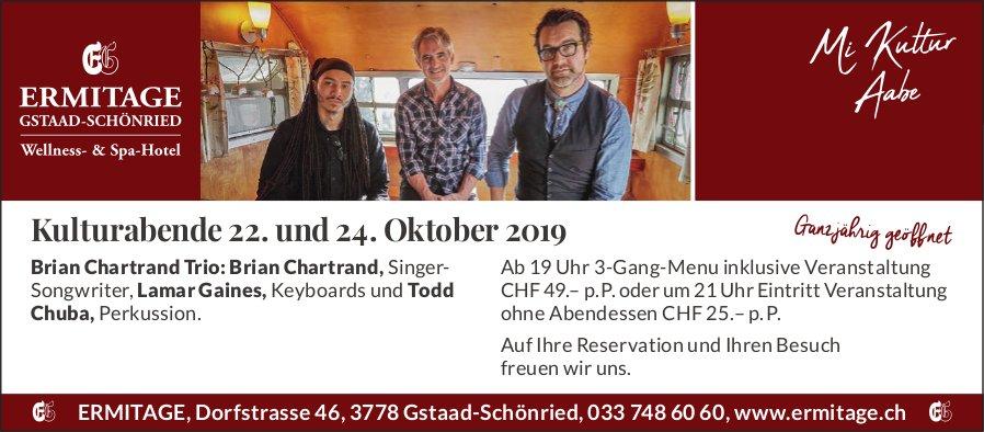 Kulturabende, 22. und 24. Oktober, Ermitage, Gstaad-Schönried