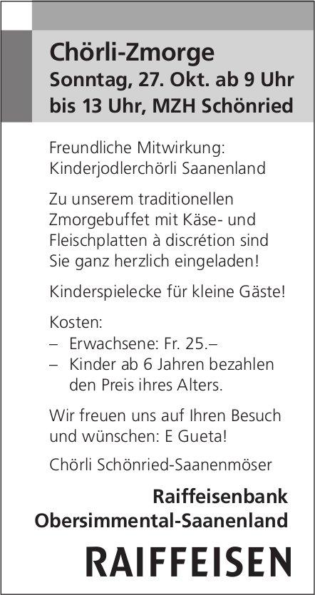Chörli-Zmorge, 27. Oktober, MZH Schönried