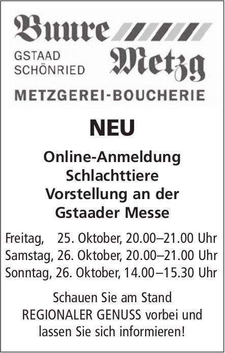 Online-Anmeldung, Schlachttiere Vorstellung, Gstaader Messe, 25. bis 27. Oktober