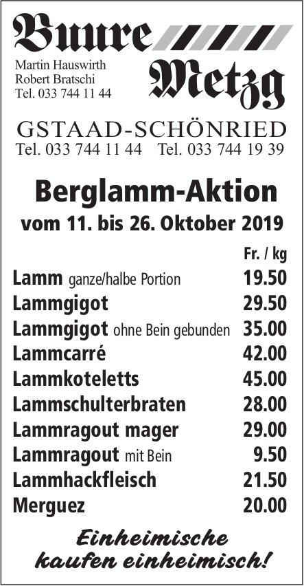 Buure Metzg, Gstaad-Schönried, Berglamm-Aktion, 11. bis 26. Oktober