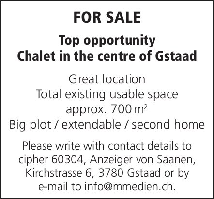 Chalet, Gstaad, for sale