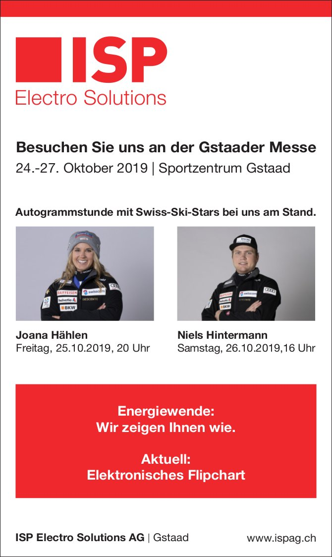Electro Solutions AG, Gstaad, Gstaader Messe, 24. bis 27. Oktober
