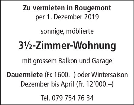 3.5-Zimmer-Wohnung, Rougemont, zu vermieten
