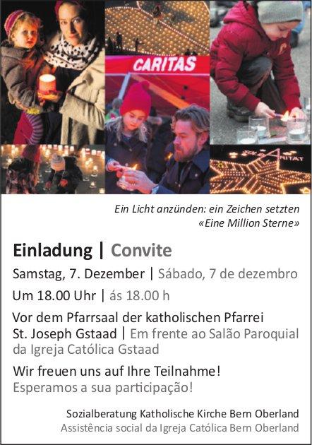 Einladung   Convite, 7. Dezember, vor dem Pfarrsaal der katholischen Pfarrei St. Joseph, Gstaad