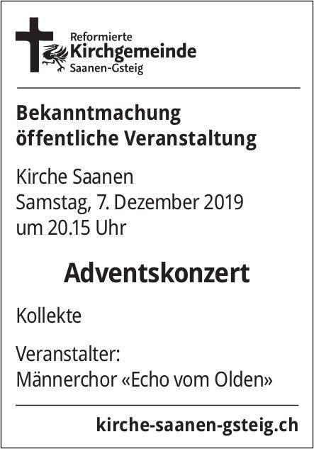 Adventskonzert, 7. Dezember, Kirche Saanen