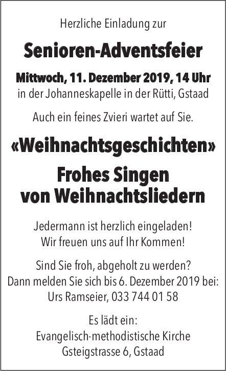 Senioren-Adventsfeier, «Weihnachtsgeschichten», 11. Dezember, Johanneskapelle in der Rütti, Gstaad