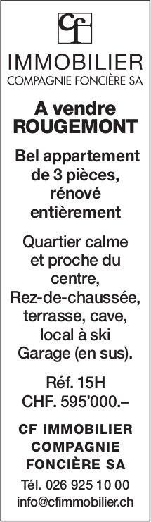 Bel appartement de 3 pièces, Rougemont, à vendre