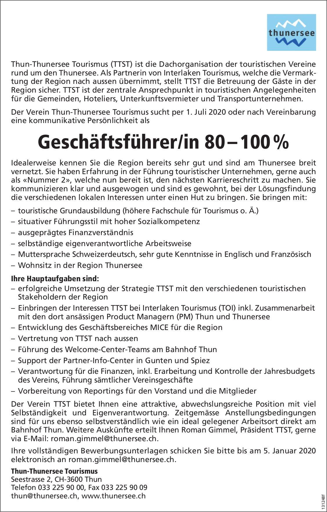 Geschäftsführer/in 80 – 100%, Thun-Thunersee Tourismus, gesucht
