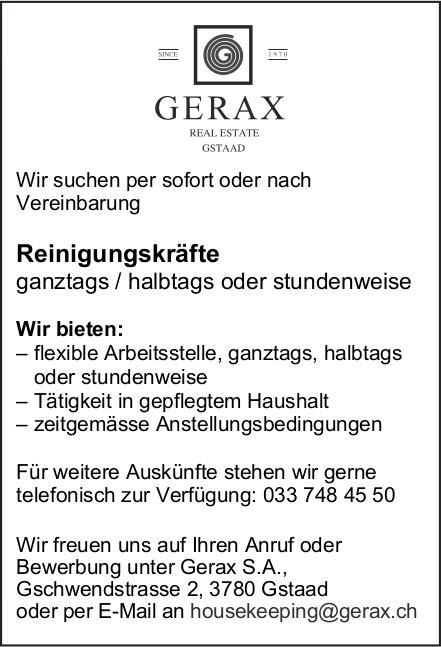 Reinigungskräfte, Gerax S.A, Gstaad, gesucht