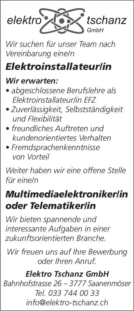 Elektroinstallateur/in & Multimediaelektroniker/in / Telematiker/in, Elektro Tschanz GmbH, gesucht