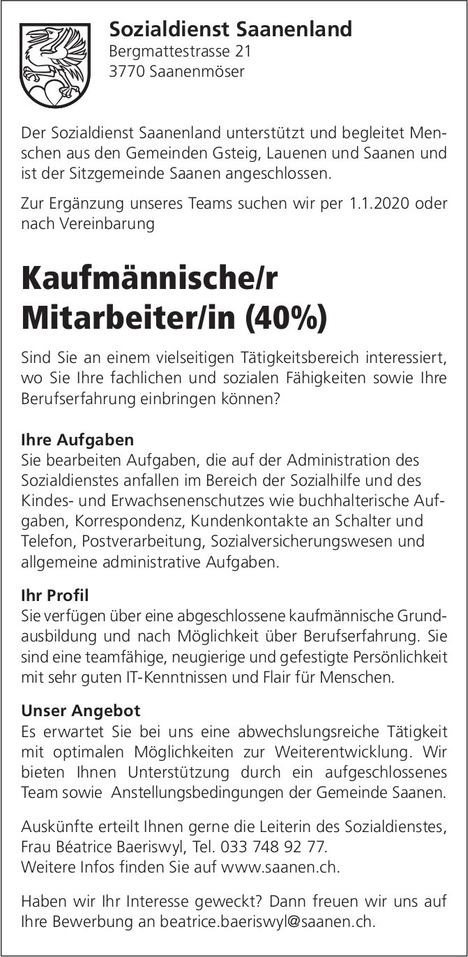 Kaufmännische/r Mitarbeiter/in (40%), Sozialdienst Saanenland, Saanenmöser, gesucht