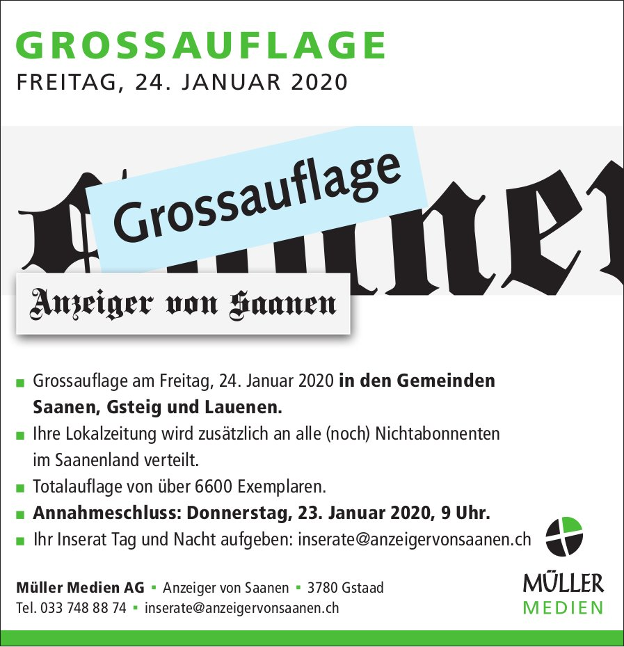Anzeiger von Saanen,  Gstaad - GROSSAUFLAGE, 24. Januar
