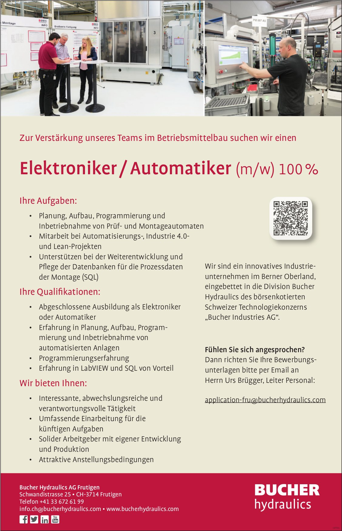 Elektroniker / Automatiker (m/w) 100%, Bucher Hydraulics AG,  Frutigen, Gesucht