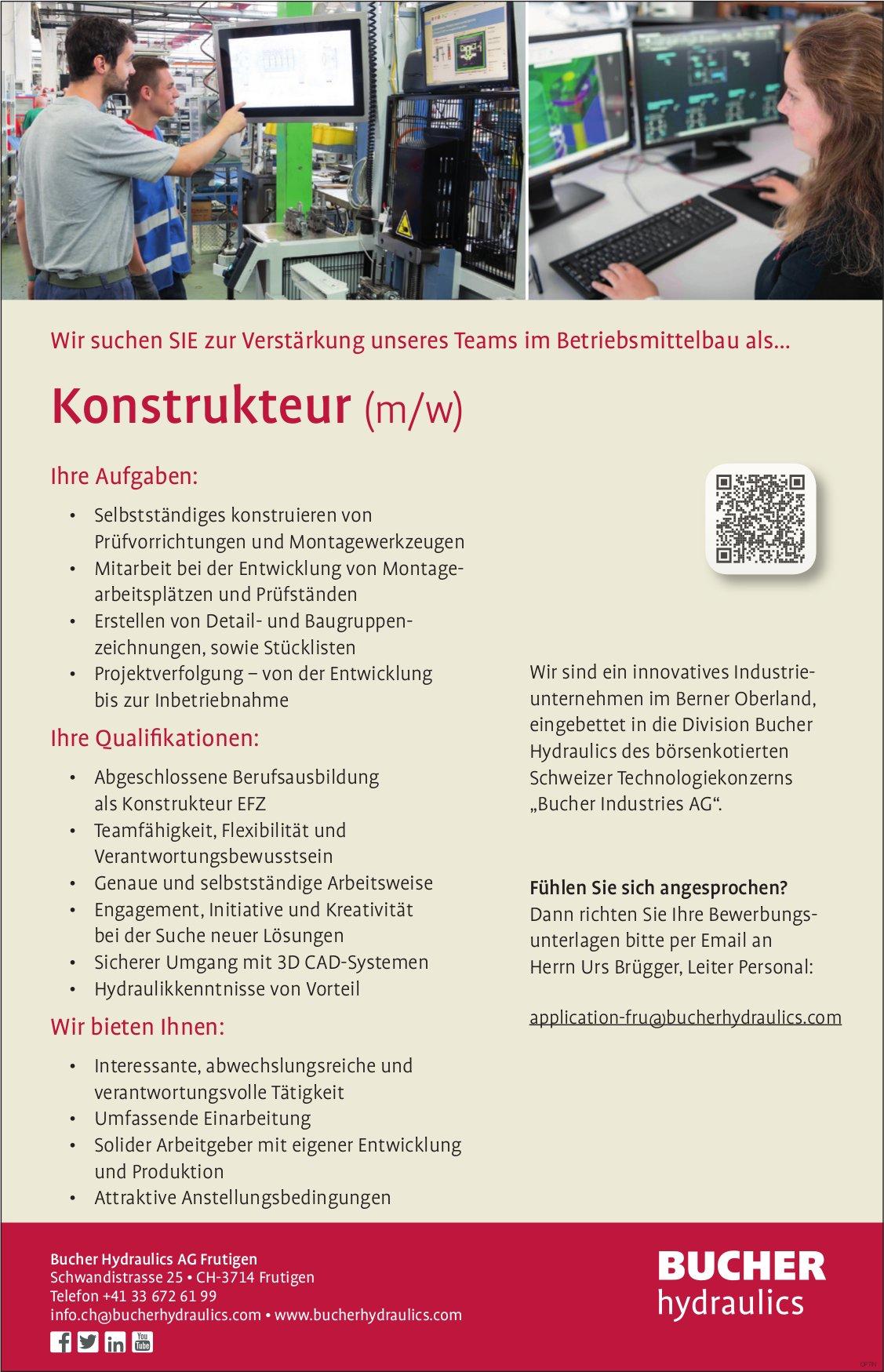 Konstrukteur (m/w), Bucher Hydraulics AG,  Frutigen, Gesucht