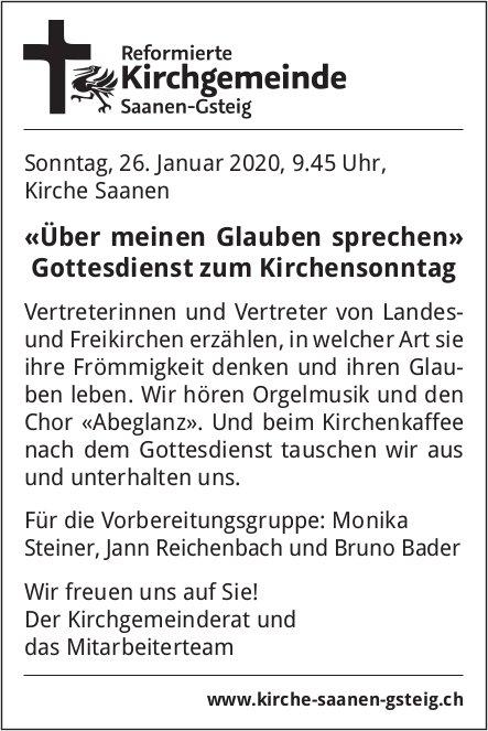 «Über meinen Glauben sprechen» Gottesdienst zum Kirchensonntag, 26. Januar, Kirche Saanen