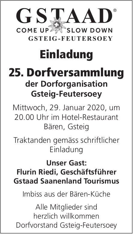 25. Dorfversammlung der Dorforganisation, 29. Januar, Hotel-Restaurant Bären, Gsteig