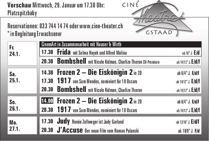 Kinoprogramm, 24. - 29. Januar, Ciné Theatre, Gstaad