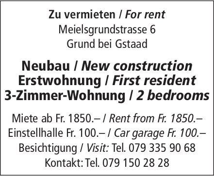 3-Zimmer-Wohnung, Erstwohnung, Grund bei Gstaad, zu vermieten