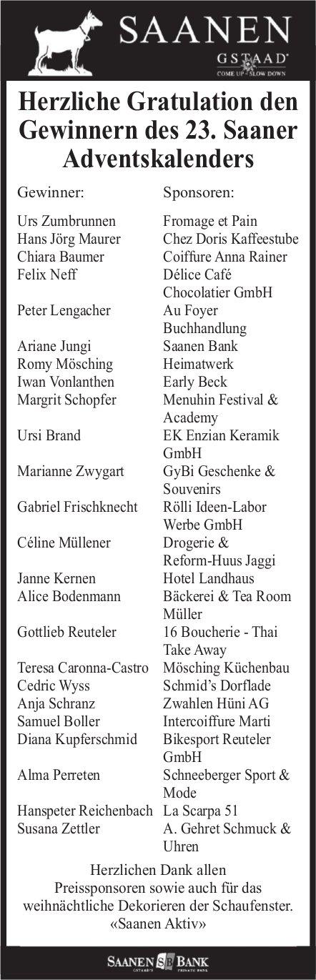 Saanen - Herzliche Gratulation den Gewinnern des 23. Saaner Adventskalenders