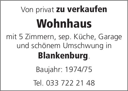 Wohnhaus mit 5 Zimmern, Blankenburg, zu verkaufen