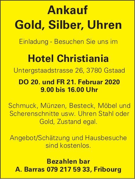 Ankauf Gold, Silber, Uhren, 20./21. Februar, Hotel Christiania, Gstaad