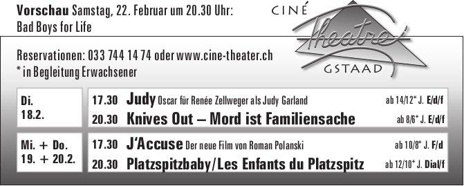 Kinoprogramm, 18. - 20. Februar, Ciné Theatre, Gstaad