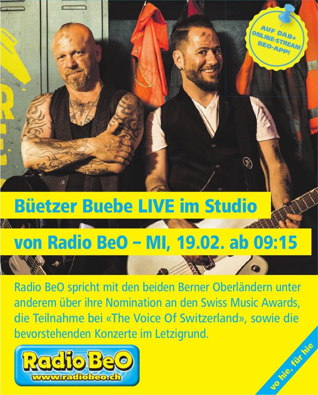 Büetzer Buebe LIVE im Studio von Radio BeO, 19. Februar