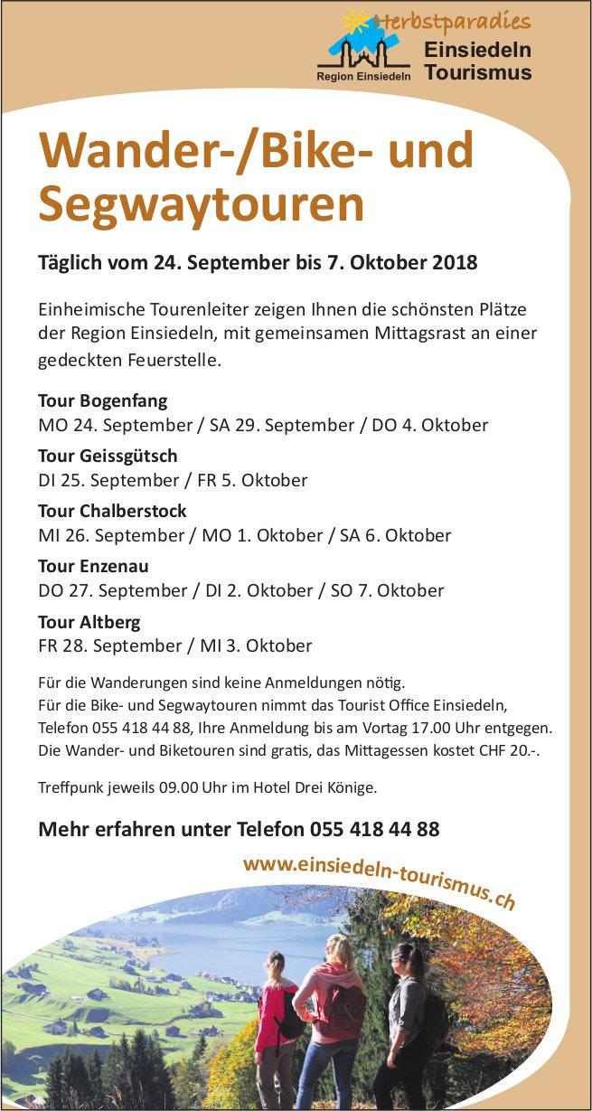 Wander-/Bike- und Segwaytouren, 24. September - 7. Oktober, Einsiedeln Tourismus