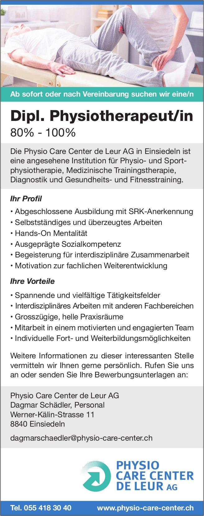 Dipl. Physiotherapeut/in, 80% - 100%, Physio Care Center de Leur AG