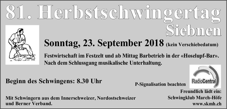 81. Herbstschwingertag Siebnen, 23. September
