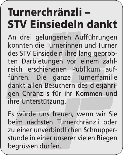 Turnerchränzli – STV Einsiedeln dankt