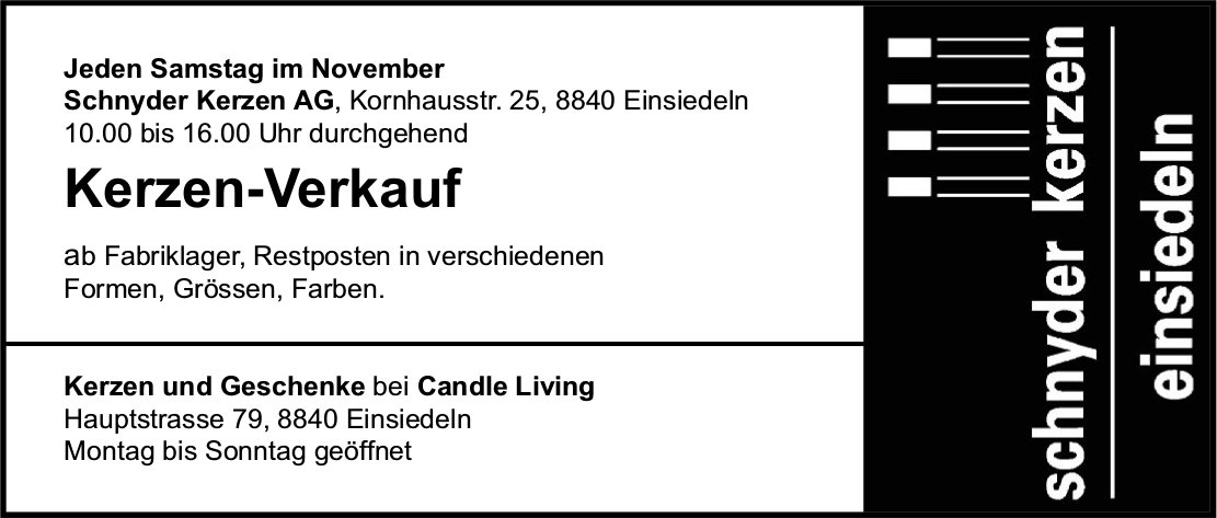 Kerzen-Verkauf, Schnyder Kerzen AG